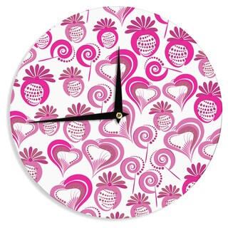 KESS InHouse Maria Bazarova 'Sweet Love 2' Pink White Wall Clock