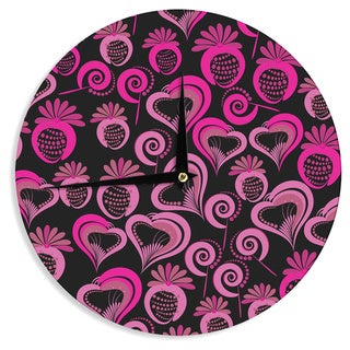 KESS InHouse Maria Bazarova 'Sweet Love' Pink Black Wall Clock
