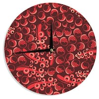 KESS InHouse Maria Bazarova 'Berry' Red Maroon Wall Clock
