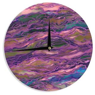 KESS InHouse Ebi Emporium 'Marble Idea! - Rich Jewel Tone' Purple Pink Wall Clock