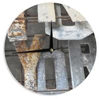 KESS InHouse Jennifer Rizzo 'Patina Letters' Gray Brown Wall Clock
