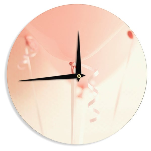 KESS InHouse Kristi Jackson 'I Believe In Pink' Pink Photography Wall Clock