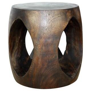 Haussmann Handmade Wood Oval Windows Sofa Table 20 in D (18 in Flats) x 20 in H Mocha Oil - 20 x 20 x 20