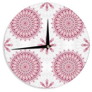 KESS InHouse Julia Grifol 'Geometric Mandalas' Red White Wall Clock
