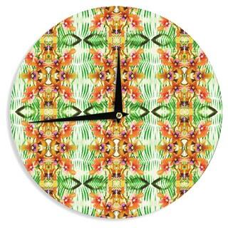 KESS InHouse Dawid Roc 'Tropical Flowers-Palm Leaves' Yellow Pattern Wall Clock