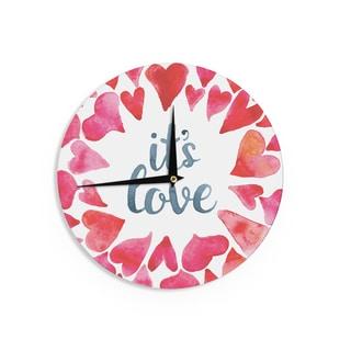 KESS InHouse KESS Original 'It's Love' Red Pink Wall Clock