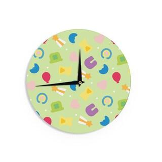 KESS InHouse KESS Original 'Charms Of Luck' Green Multicolor Wall Clock