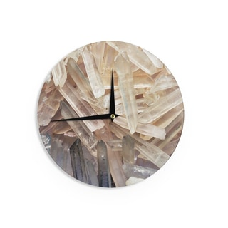 KESS InHouse KESS Original 'Crystal Cluster' Yellow White Wall Clock