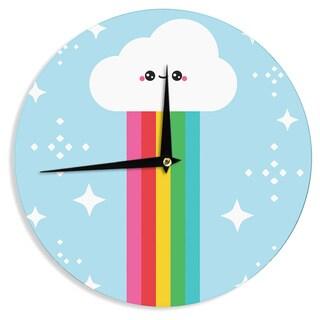 KESS InHouse KESS Original 'Mr. Rainbow' Multicolor Kids Wall Clock