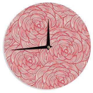 KESS InHouse KESS Original 'Roses' Pink Red Wall Clock