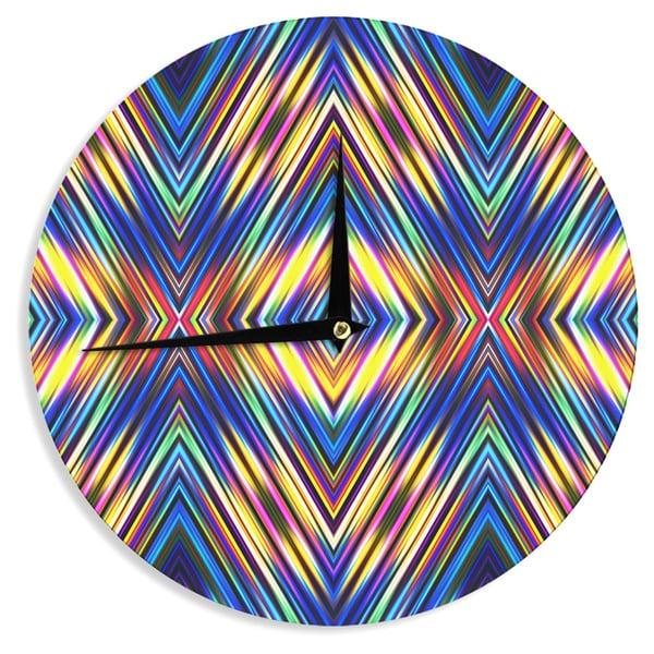 "KESS InHouse Dawid Roc 'Multi Colors Modern Tribal' Multicolor Tribal Wall Clock - 12"""