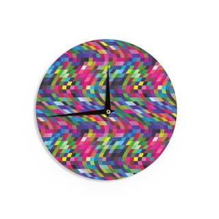 KESS InHouse Dawid Roc 'Colorful Geometric Movement 1' Multicolor Abstract Wall Clock
