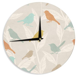 KESS InHouse KESS Original 'Tweet' Pastel Nature Wall Clock
