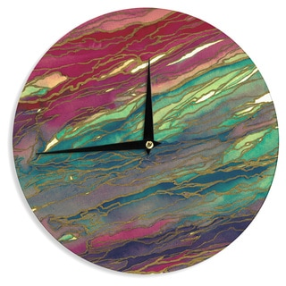 KESS InHouse Ebi Emporium 'Agate Magic - Bold Red Aqua' Green Maroon Wall Clock