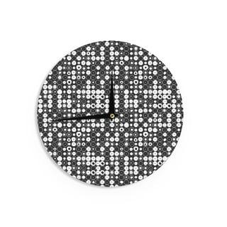 KESS InHouse Nandita Singh 'White & Black Funny Polka Dots ' Black Abstract Wall Clock