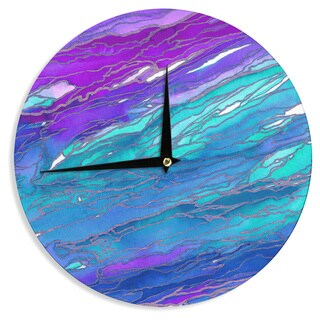 KESS InHouse Ebi Emporium 'Agate Magic - Purple Blue' Aqua Lavender Wall Clock