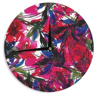 KESS InHouse Ebi Emporium 'Floral Fiesta - Red' Blue Maroon Wall Clock