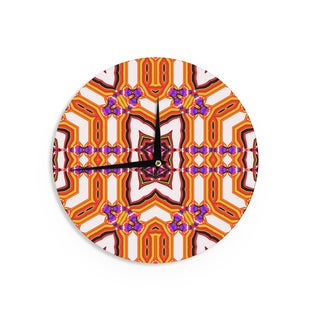 KESS InHouse Dawid Roc 'Inspired By Psychedelic Art 4' Orange Abstract Wall Clock