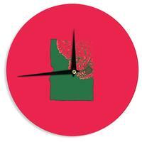 KESS InHouse BarmalisiRTB 'Idaho Zombie ' Red Fantasy Wall Clock