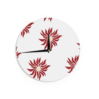KESS InHouse NL Designs 'White Pointsettias ' Red Flower Wall Clock