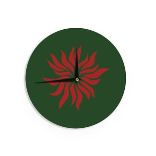 KESS InHouse NL Designs 'Pointsettia' Green Floral Wall Clock