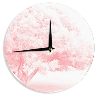 KESS InHouse Sylvia Coomes 'Pink Frost ' White Photography Wall Clock
