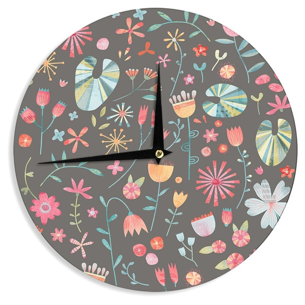 KESS InHouse Nic Squirrell 'Wayside Flowers ' Multicolor Floral Wall Clock