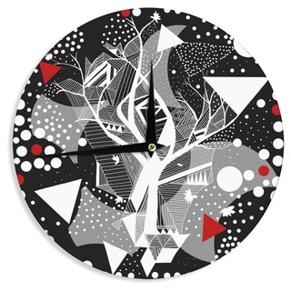 KESS InHouse Marianna Tankelevich 'Geometric Play' Black Red Wall Clock