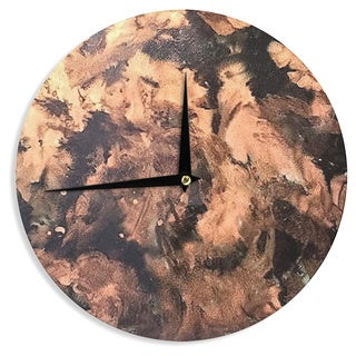 KESS InHouse Abstract Anarchy Design 'King Midas ' Brown Abstract Wall Clock