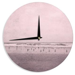 KESS InHouse Iris Lehnhardt 'Seagulls' Pink Nature Wall Clock