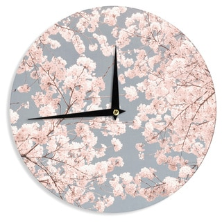 KESS InHouse Iris Lehnhardt 'Rosy Sky' Pink Floral Wall Clock