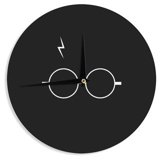 KESS InHouse Jackie Rose 'The Boy Who Lived' White Illustration Wall Clock