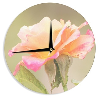 KESS InHouse Sylvia Coomes 'Rose In Full Bloom ' Orange Floral Wall Clock