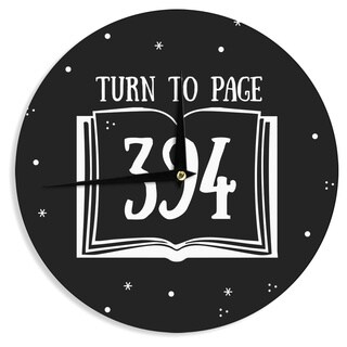 KESS InHouse Jackie Rose 'Turn To Page 394' Black Pop Art Wall Clock