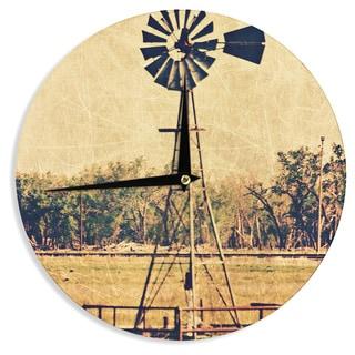KESS InHouse Sylvia Coomes 'We Are In Kansas ' Tan Travel Wall Clock