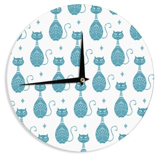 KESS InHouse Cristina Bianco Design 'Blue Cat Pattern' White Animal Wall Clock