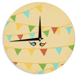 KESS InHouse Cristina Bianco Design 'Birds' Blue Kids Wall Clock