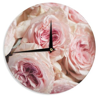 KESS InHouse Crissy Mitchell 'Pink Roses' Pastel Floral Wall Clock