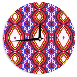 KESS InHouse Dawid Roc 'Inspired By Psychedelic Art 2' Red Abstract Wall Clock