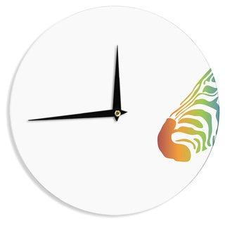 KESS InHouse NL designs 'Rainbow Zebra ' Multicolor Animals Wall Clock