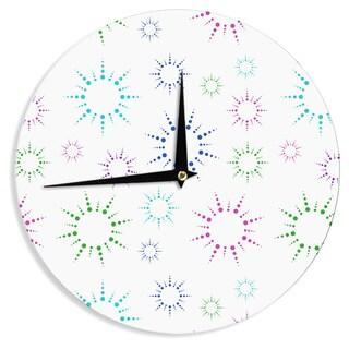 KESS InHouse NL Designs 'Rainbow Fireworks ' Multicolor Pattern Wall Clock