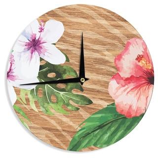 KESS InHouse NL designs 'Vintage Tropical Jungle ' Pink Floral Wall Clock
