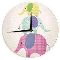 KESS InHouse Noonday Design 'Balancing Act ' Multicolor Kids Wall Clock