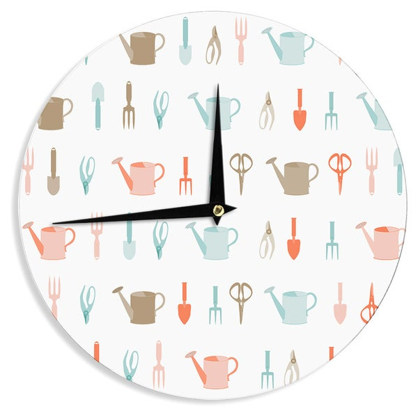 """Kess InHouse afe images """"Gardening Tools Pattern"""" Teal Abstract Wall Clock 12"""""""