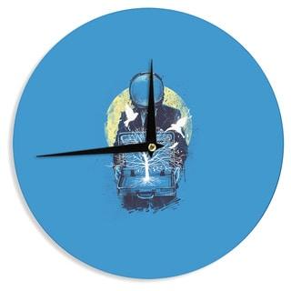KESS InHouse Digital Carbine 'A New Life' Blue Illustration Wall Clock
