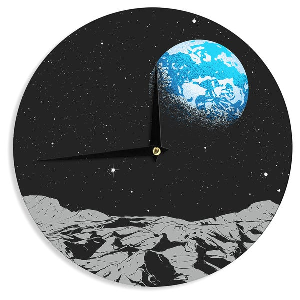 KESS InHouse Digital Carbine 'From The Moon' Blue Geological Wall Clock