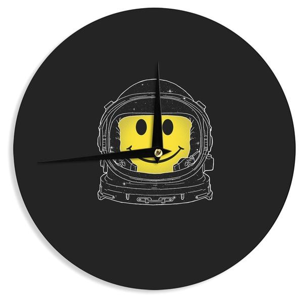 KESS InHouse Digital Carbine 'Happiness' Yellow Digital Wall Clock