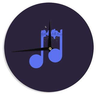 KESS InHouse Digital Carbine 'Night Music' Blue Illustration Wall Clock