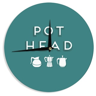 "Kess InHouse Busy Bree ""Pot Head"" Teal Digital Wall Clock 12"""