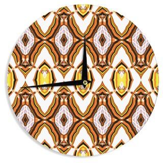 KESS InHouse Dawid Roc 'Inspired By Psychedelic Art 1' Orange Pattern Wall Clock